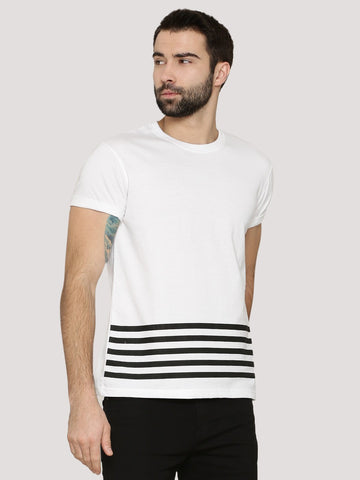 Stripe Stepped Hem Tshirt - White