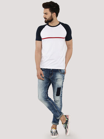 Contrast Reglan with Chest Stripe - White