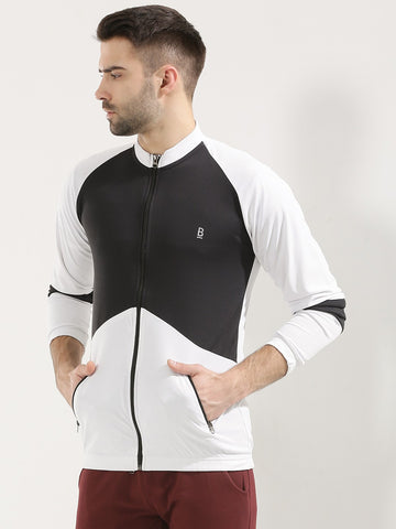 ACTIVE DRY PANEL JACKET WITH ZIPPER B/W