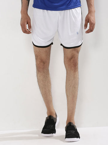 ACTIVE DRY SHORTS WITH CONTRAST PIPING - WHITE
