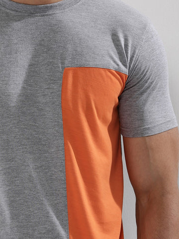 Contrast Panel T-Shirt - GREY/ORANGE