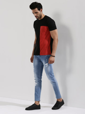 Contrast Panel T-Shirt - BLACK/RED