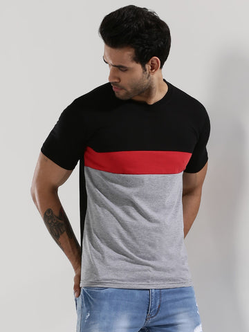Colour Block T-Shirt - BLACK / GREY / RED