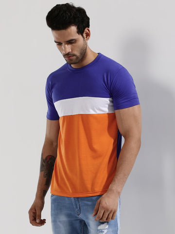 Colour Block T-Shirt - BLUE / WHITE / ORANGE