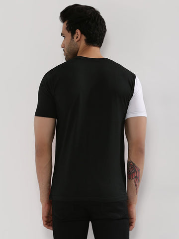 Contrast Panel T-Shirt - WHITE / BLACK / RED