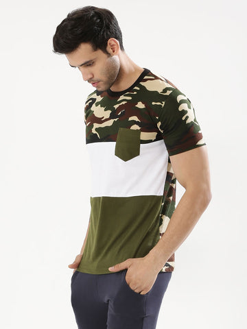 Cut & Sew Camo Panel T-Shirt - Camo/White/Olive