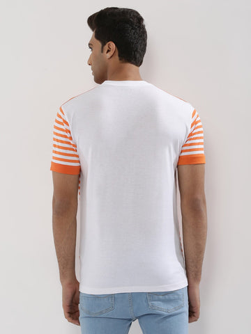 Contrast Panel Striped T-Shirt - ORANGE WITH WHITE BASE