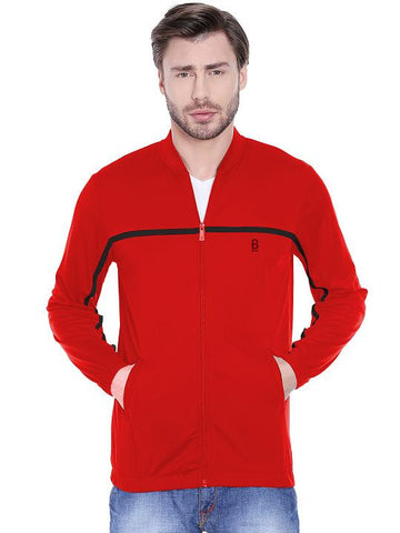 ACTIVE DRY ONE STRIPE ZIPPER - RED