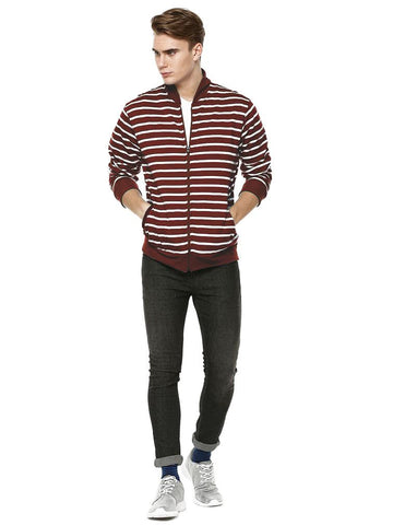 Chocolate Stripe Bomber Jacket