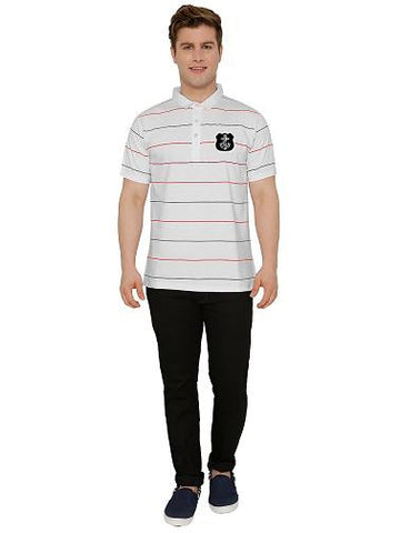 Casual Stripes Polo T-shirt Grey