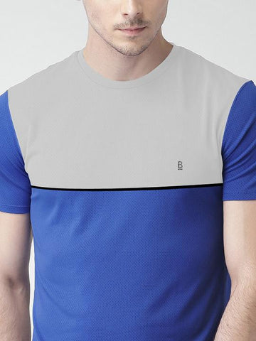 ACTIVE DRY CHEST PANEL RN TSHIRT - BLUE
