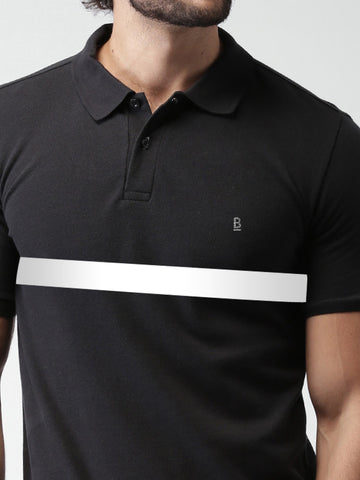 ACTIVE DRY BLACK WITH WHITE STRIPE POLO