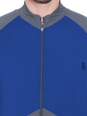 ACTIVE DRY PANEL JACKET WITH ZIPPER - BLUE/GREY