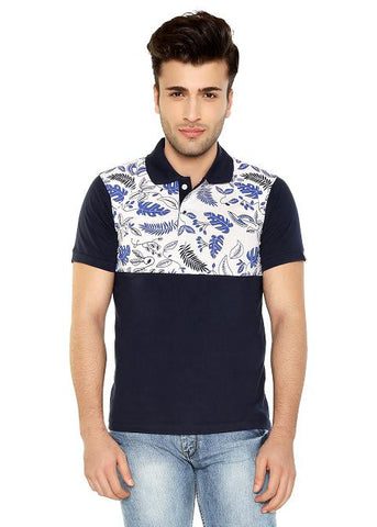 FLORAL PANEL POLO TSHIRT
