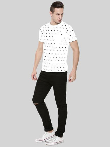 Polka Dots with Patch Pocket Tshirt - White
