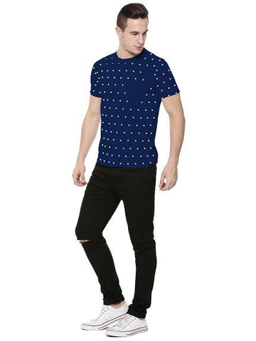 Polka Dots with Patch Pocket Tshirt - Navy