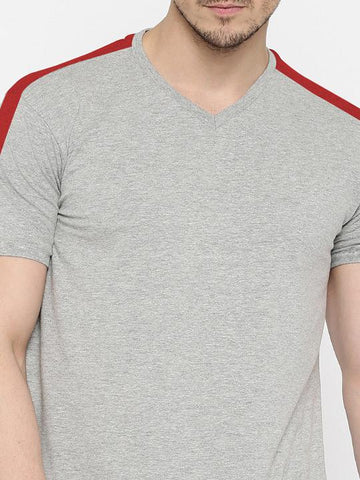 SHOULDER STRIPE TSHIRT - GREY