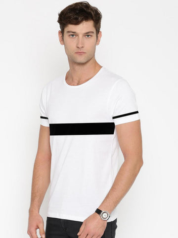 Contrast Panel T-Shirt With Striped Sleeve - White
