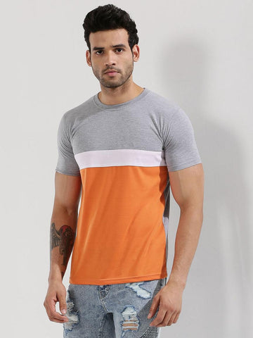 Colour Block T-Shirt - Grey / White / Orange