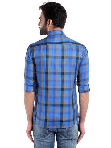 DUAL POCKET CHECKS SHIRT - BLUE