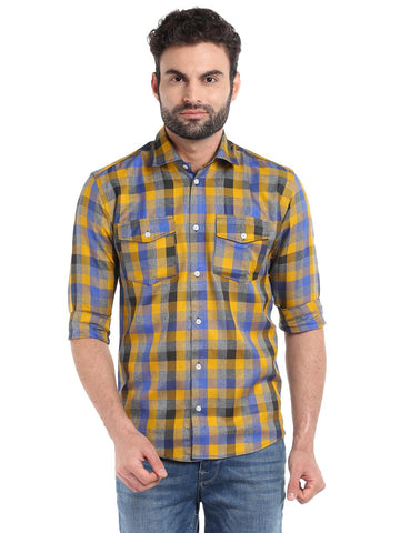 DUAL POCKET CHECKS SHIRT - YELLOW