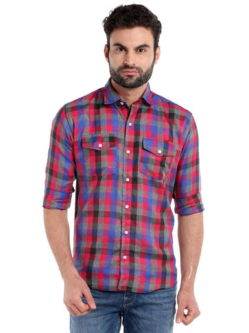 DUAL POCKET CHECKS SHIRT - PINK