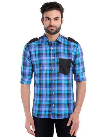 SOLID POCKET CHECKS SHIRT - BLUE