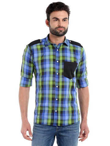 SOLID POCKET CHECKS SHIRT - GREEN