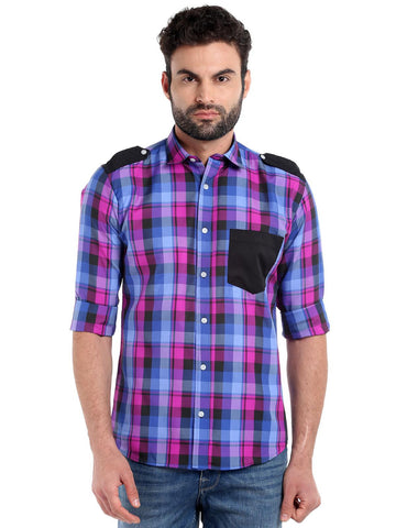 SOLID POCKET CHECKS SHIRT - PINK