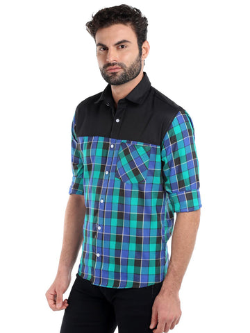 SOLID CUT STITCH CHECKS SHIRT - BLUE
