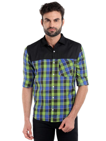 SOLID CUT STITCH CHECKS SHIRT - FLORESCENT GREEN