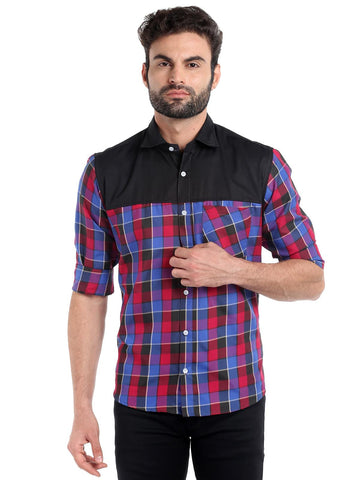 SOLID CUT STITCH CHECKS SHIRT - PINK