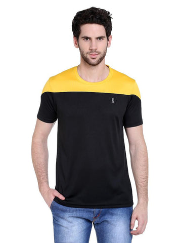 ACTIVE DRY SHOULDER PANEL RN TSHIRT - YELLOW/BLACK