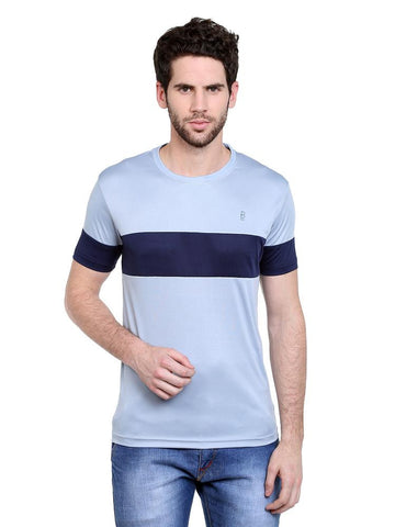 ACTIVE DRY GREY CHEST SLEEVE PANEL RN TSHIRT