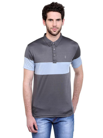 ACTIVE DRY GREY SHOULDER SLEEVE PANEL POLO TSHIRT