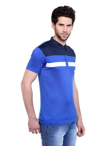 SHOULDER PANEL WITH CHEST STRIPE POLO - BLUE