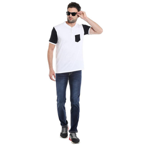BASEBALL COLLAR TSHIRT - WHITE