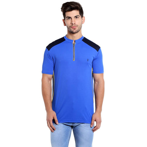 ZIPPER POLO TSHIRT - BLUE