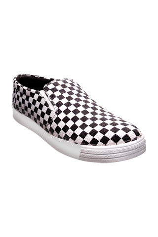 White/Black check shoes