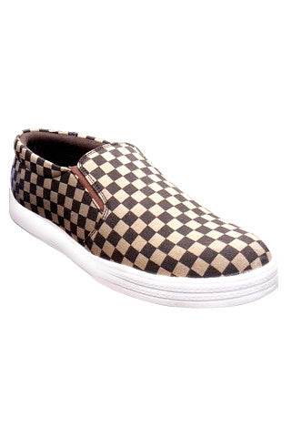 Slip On Canvas Shoe - Brown Checks