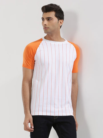 Striped Raglan With Contrast Sleeves - ORANGE SLEEVE WITH WHITE BASE