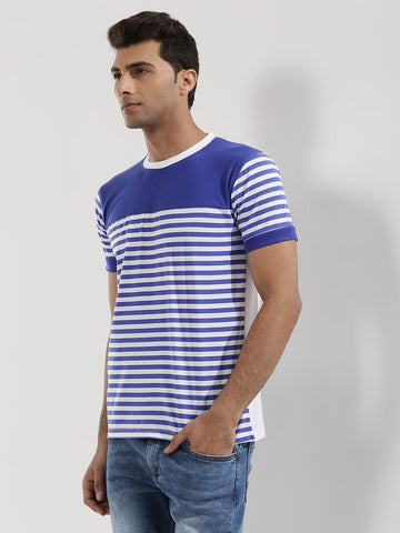 Contrast Panel Striped T-Shirt - BLUE WITH WHITE BASE