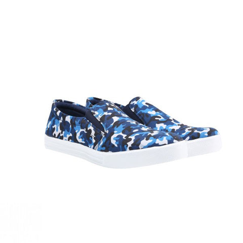 Printed Slip On Canvas Shoe - Military Blue