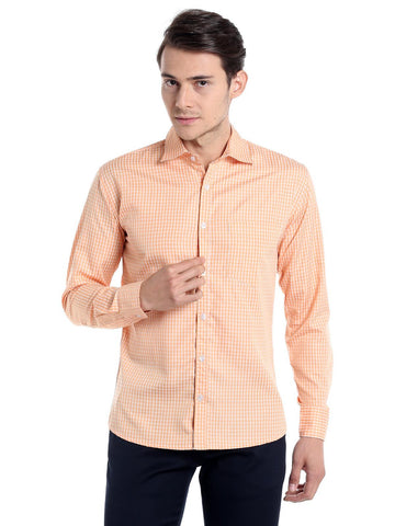Micro Checks Shirt - Orange