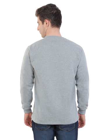 Grey Melange Printed Fleece Sweat Shirt