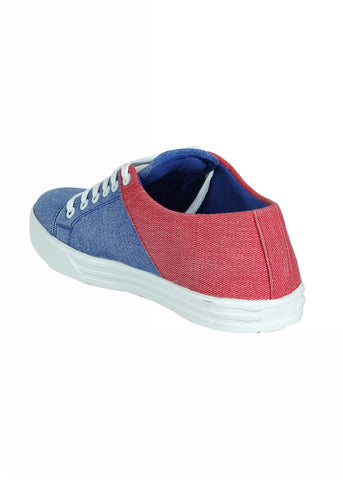 Double Color Canvas Lace Shoe - Denim & Red