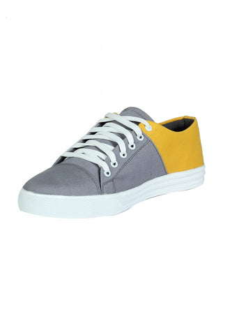 Double Color Canvas Lace Shoe - Grey & yellow