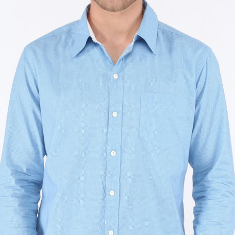 MICRO PRINTED SKY BLUE SHIRT - SLIM FIT