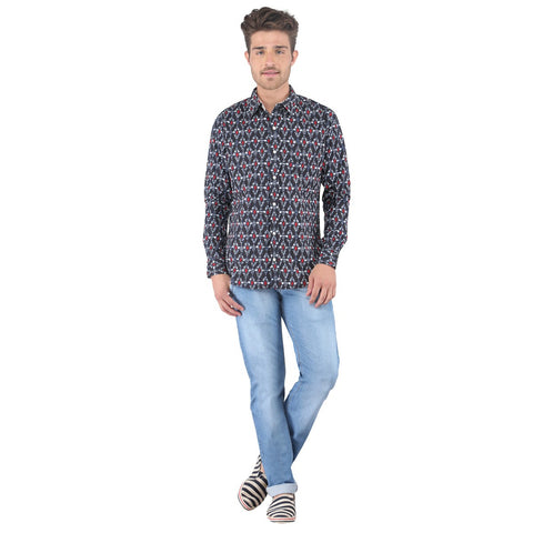 ELECTRO PRINTED NAVY BLUE SHIRT - SLIM FIT