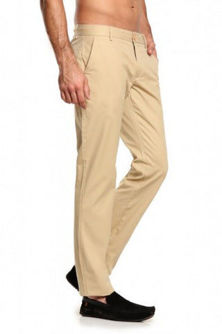 Beige Cotton Trousers - Smart Fit